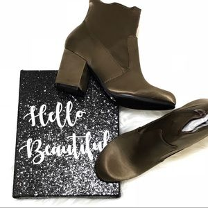 Shoes - brown satin block heel booties